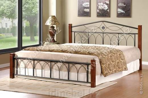 Миранда Кровать 160 (крем,каштан,черная) Домини